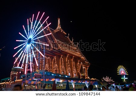 The festival is held once a year, according to Thai temples around the country, a Thai temple carnival money. Mobilize people to help a lot. - stock photo