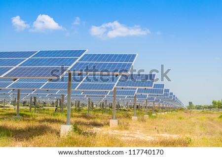 The field of solar panel with green grass in front of a blue sky with clouds.