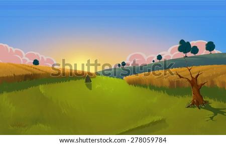 The Fields - Scene Design - stock photo