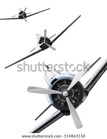 The Fighters. Vintage planes on a white background. Retro technology background. - stock photo