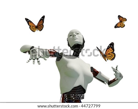 The figure of the robot and butterflies on a white background - stock photo