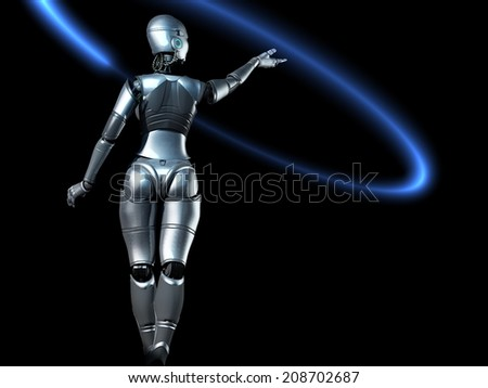 The figure of the robot on a black background.
