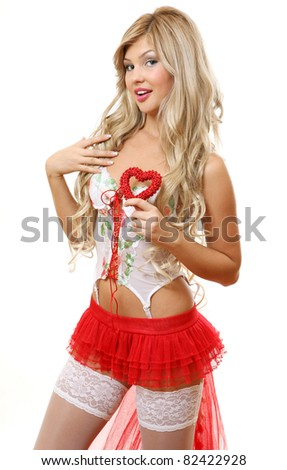 The fine woman with heart - stock photo