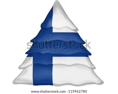 The Finnish flag painted on Christmas xmas tree icon - stock photo
