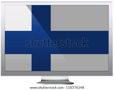 The Finnish flag painted on grey aluminum monitor - stock photo