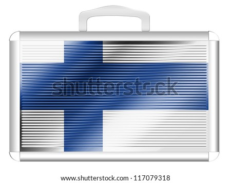 The Finnish flag painted on metal aluminum case - stock photo
