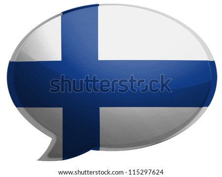 The Finnish flag painted on speaking bubble with reflection - stock photo