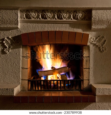 The Fire and firewood in old fireplace
