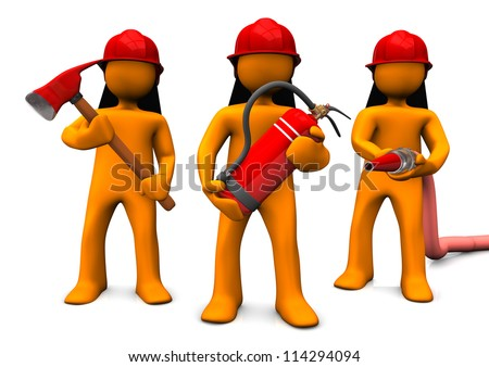 The fire brigade with axe, extinguisher and fire hose. White background. - stock photo
