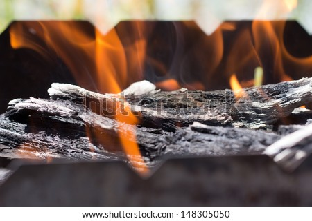 the fire in the brazier - stock photo