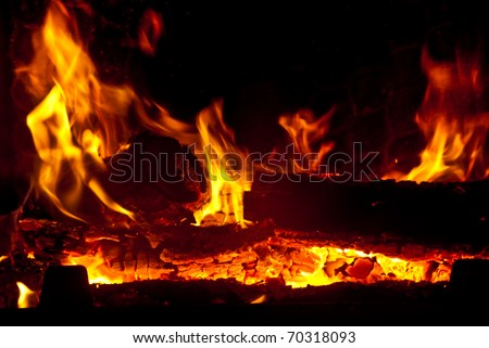 The fire in the fireplace
