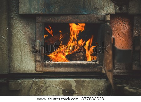 The fire in the stove