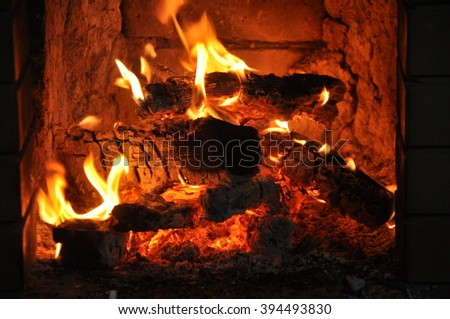 The fire in the stove - stock photo