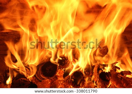 The fire in the wood stove - stock photo