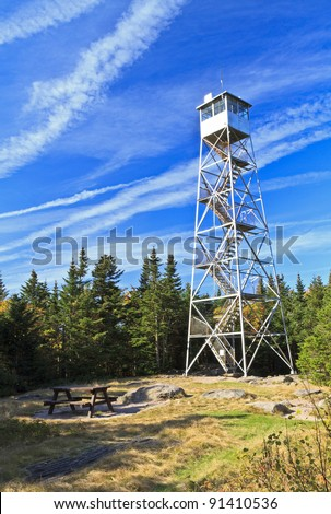 The Fire tower atop Balsam Lake Mountain, one of the highest viewpoints in the Catskills Mountains of New York - stock photo