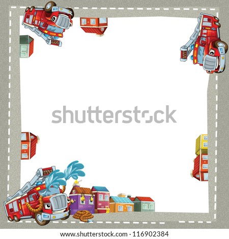 The fire truck in the city - border - illustration for the children