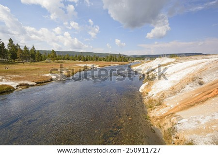 The Firehole River in the Upper Geyser Basin in Yellowstone National Park