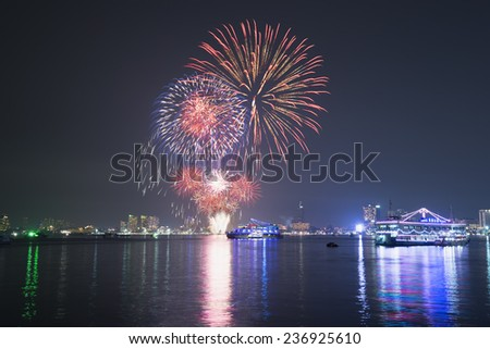 The fireworks show in Patta-ya, Thailand. - stock photo