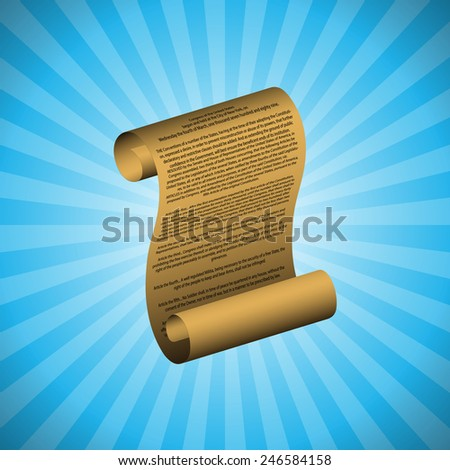 The first amendment on blue background (with readable text) - stock photo