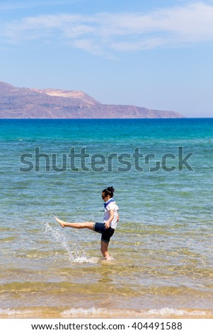 the first day of vacation, girl in clothes, squirted into the sea