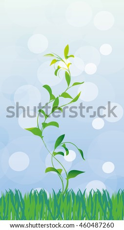 the first spring sprout breaks out of the ground in the sun - stock photo
