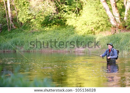 The Fisherman Fishing on the River