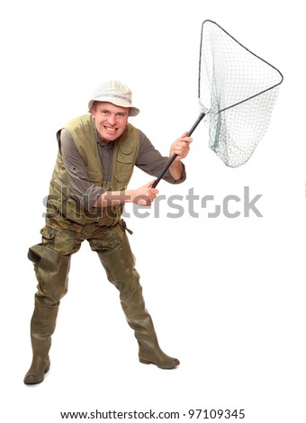 The fisherman with landing net.
