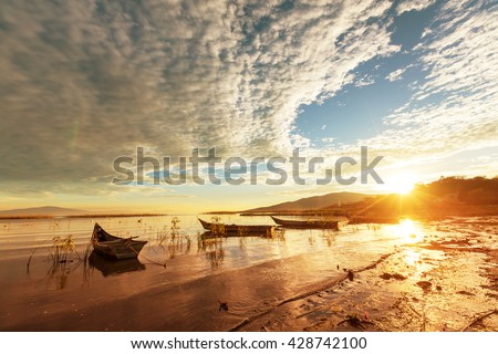 The fishing boats in Mexico - stock photo