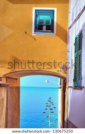 The fishing village of Corniglia in Italy Cinque Terre (hdr image) - stock photo