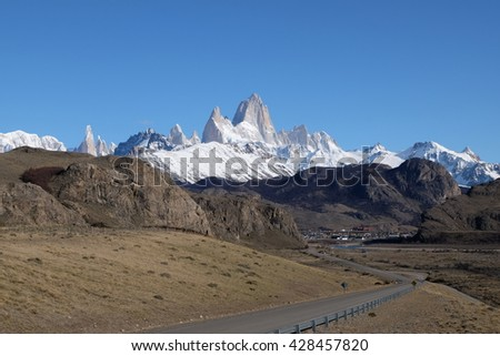 The Fitz Roy Mountain and a Road Leading to El Chalten Village in Patagonia, Argentina, South America