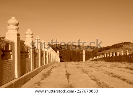 The Five holes bridge and stone column landscape architecture, in the Eastern Tombs of the Qing Dynasty, on december 15, 2013, ZunHua, hebei province, China.