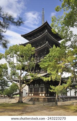 The Five-story Pagoda of Kofukuji in Nara is an Unesco World Heritage site - stock photo