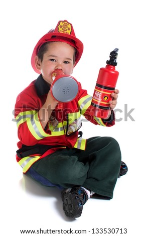 The five-year boy in fireman costume