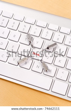 The Fix Me Key on Keyboard - stock photo