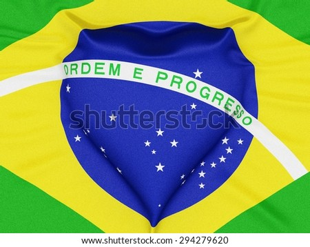 The flag of Brazil forming a heart