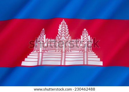 The flag of Cambodia was originally adopted in 1948 and then readopted in 1993, after elections restored the monarchy. Since around 1850, the Cambodian flag has featured a depiction of Angkor Wat. - stock photo
