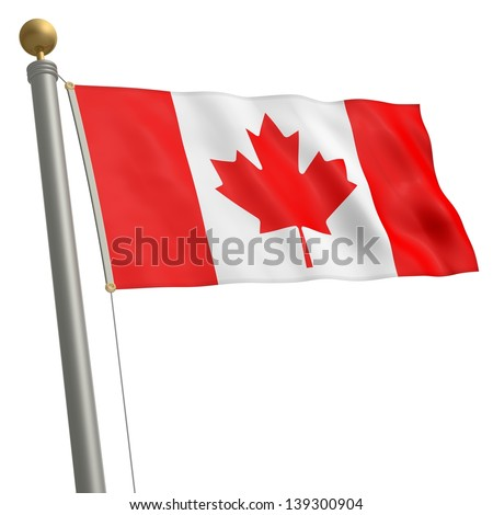 The flag of Canada fluttering on flagpole