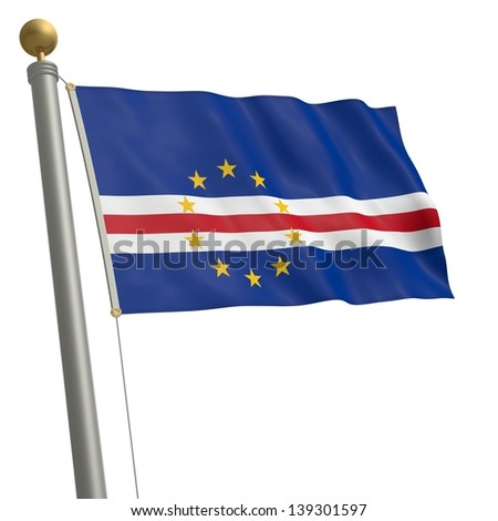 The flag of Cape Verde fluttering on flagpole