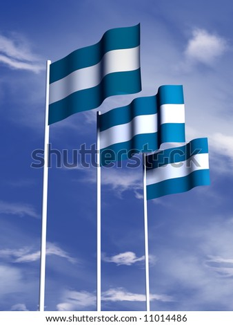The flag of El Salvador flying under a blue sky