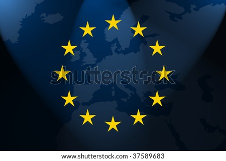 the flag of europe in front of the map - stock photo
