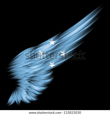 The flag of Federated States of Micronesia on Abstract wing with black background - stock photo