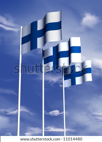 The flag of Finland flying under a blue sky - stock photo