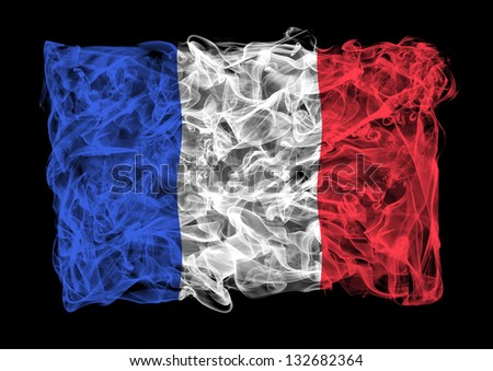 The flag of France consists of a smoke - stock photo