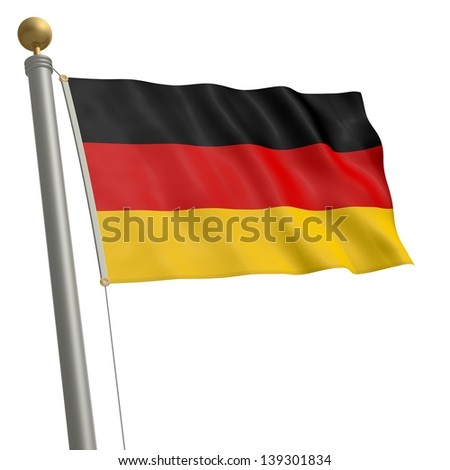 The flag of Germany fluttering on flagpole