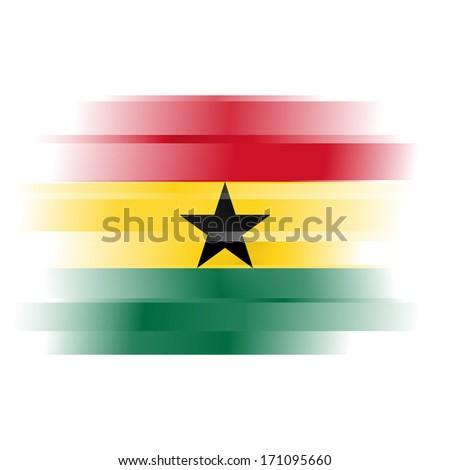 The flag of Ghana on white background - stock photo