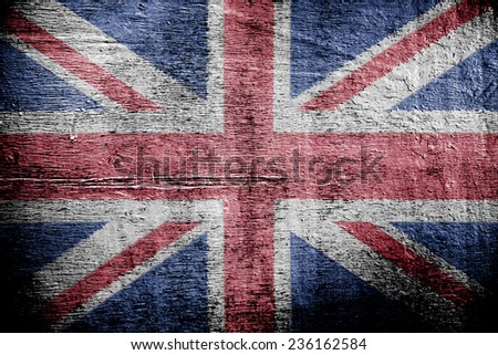The Flag Of Great Britain. Texture of the old worn plywood. - stock photo