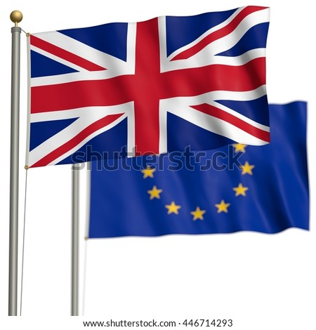 The flag of Great Britain with EU-flag after Brexit - 3D Illustration