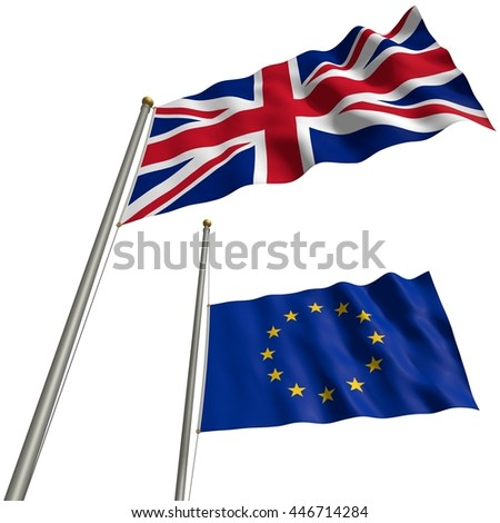 The flag of Great Britain with EU-flag at half mast after Brexit - 3D Illustration - stock photo