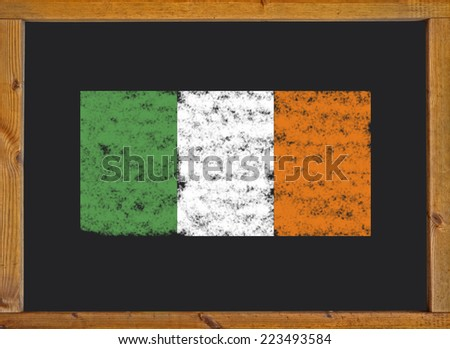 the flag of Ireland on a blackboard