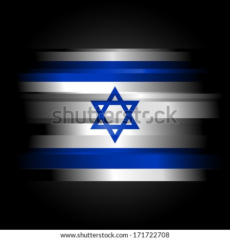 The flag of Israel on black background - stock photo